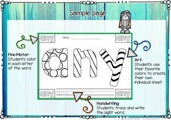 Sight Words Coloring Pages (First Grade Edition)