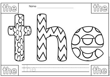Sight Words Coloring Pages (Pre-Primer Edition)