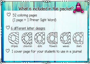 Sight Words Coloring Pages (Primer Edition)