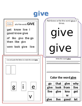 Sight Words for Kindergarten and 1st grade