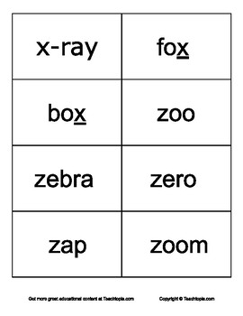 """Sight Words for Learning how to Read.    Letters """"X"""" and """"Z"""" Sight Words."""