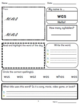 Sight Words for Older Students - No Prep!