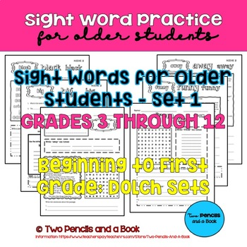 Sight Word Practice for Older Students – Set 1 – Pre-K to First Grade 192 Words