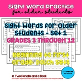 Sight Word Practice for Older Students – Set 1 – Pre-K to