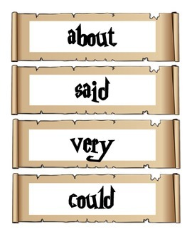 Harry Potter Sight Words for Word Wall (PDF)