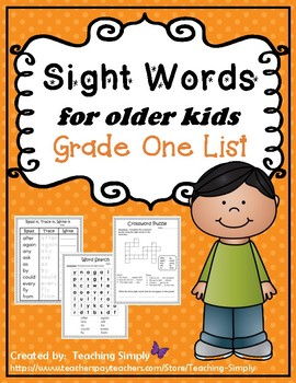 Sight Words for big kids - Dolch Grade One List