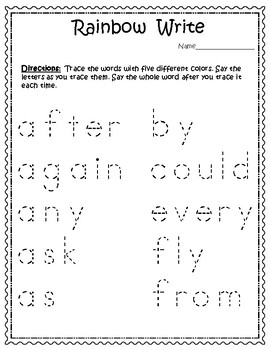 Sight Words for Big Kids Grade One List