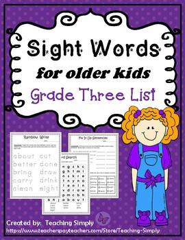 Sight Words for big kids - Grade Three list