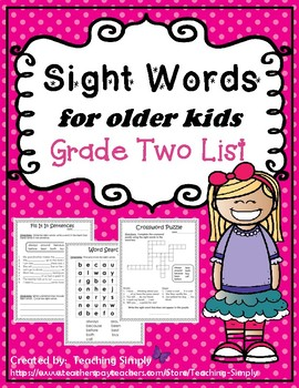 Sight Words for Big Kids Grade Two List