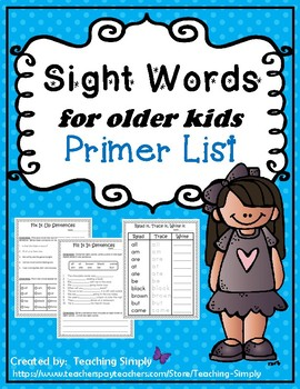 Sight Words for Big Kids Primer List