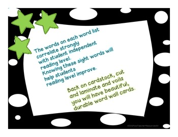 Sight Words Word Wall Cards - Teacher's College Lists A - H - Color Polka Dots