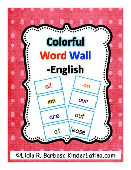 Sight Words for the Word Wall (English Dolch list)