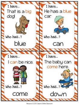Pre-primer Sight Word Practice {Sight Word Game - I Have, Who Has Format}
