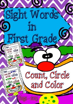 Sight Words in First Clown theme (Count, Circle and Color)