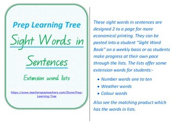 Sight Words in Sentences (extension) in Queensland Foundation Font