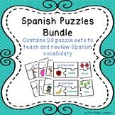 Learn Elementary Spanish Vocabulary Words ESL Game Puzzles Bundle