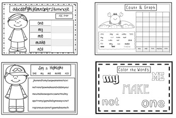 Sight Words (make me, my, not, one) Interactive Booklet 1.5