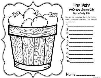 Sight Words of the Week & All the Extras: Fry's First 100 Words