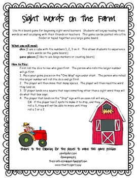 Sight Words on the Farm Game
