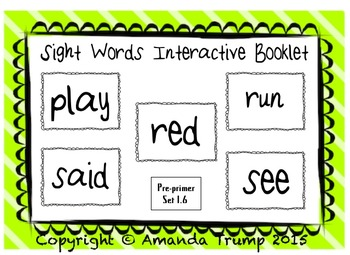 Sight Words (play, red, run, said, see) Interactive Booklet 1.6