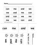 """Sight Words: """"can, me, and, we"""". For SIPPS lessons 5-10"""
