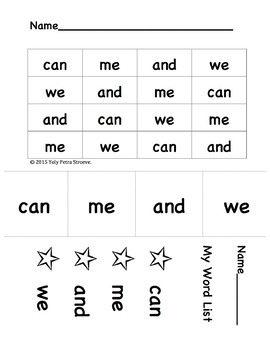 "Sight Words: ""can, me, and, we"". For SIPPS lessons 5-10"