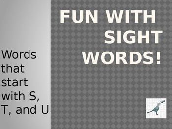 Sight Words starting with S, T, and U