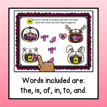 Sight Words (the, and, in, is, to, of) Valentine's Day Theme