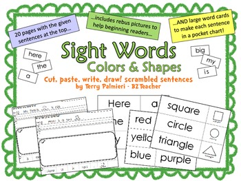 Sight Words Scrambled Sentences ~ Colors & Shapes (here, is, a, the, my, big)