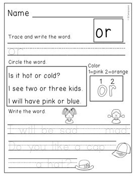 Kindergarten Sight Word Practice Unit 3
