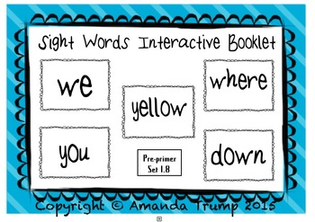 Sight Words (we, where, yellow, you, down) Interactive Booklet 1.8