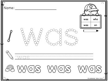 Sight Words Kindergarten Q Tip Worksheets