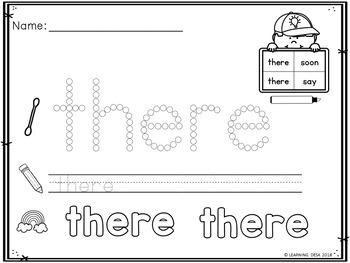 Q Tip Sight Words Worksheets (Primer)