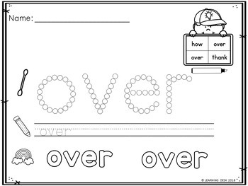 Q Tip Sight Words Worksheets (First Grade)