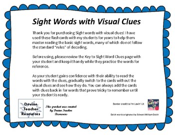 Sight Words with Visual Clues, Grade 3
