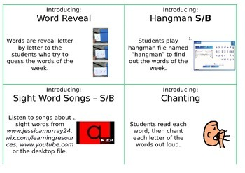 Sight Words/Word Wall Words Lesson Cards
