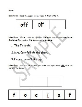Sight Work Homework Pack