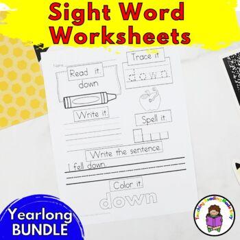 Sight Word Worksheets:  School Year Bundle