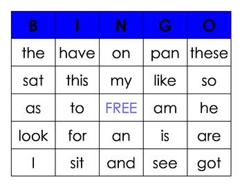 Sight and CVC Word BINGO