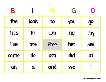 Sight word BINGO- 26 words