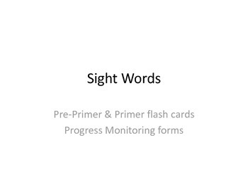 Sight word Flash Cards and Progress Monitoring: Pre-primer and primer