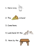 Sight word reading in context: 'here'