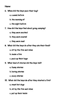 Sight word (PCI words) passage with word recognition & questions