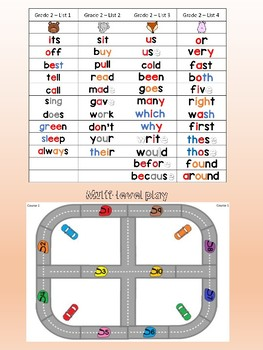 Dolch sight word Race car track game - 2nd grade words