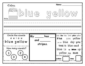 Sight word Worksheet BLUE & YELLOW by Kindergarten Commotion ...