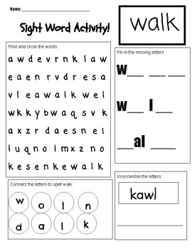 Sight word Worksheet fun