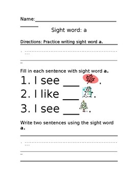 """Sight word """"a"""" practice sheet"""