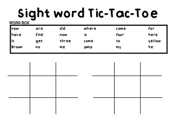 Sight word and Digraph Tic-Tac-Toe