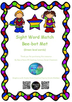 Sight word bee-bot coding - green level words - super hero theme