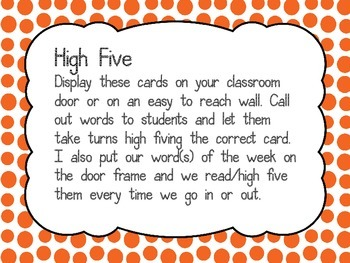 Sight word cards- Pre-primer- High five themed